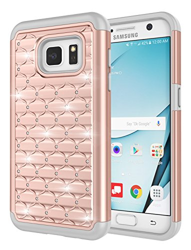 Galaxy S7 Case, Jeylly [Diamond Star] Hybrid Rubber Plastic Shock Absorbing Studded Rhinestone Crystal Bling Armor Defender Rugged Case Cover for Samsung Galaxy S7 S VII G930 GS7 - Rose ()