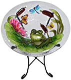 Continental Art Center CAC2221491 Bird Bath Glass Bowl, 13 by 2-Inch, Frog
