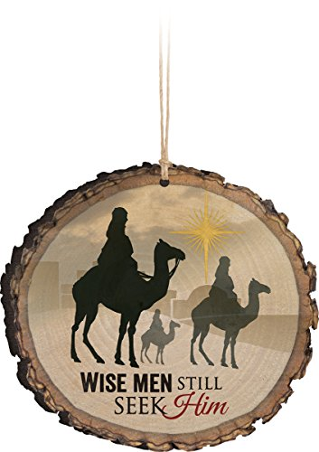 Wise Men Still Seek Him Three Kings Wood Tree Bark 4 inch Christmas Tree Ornament