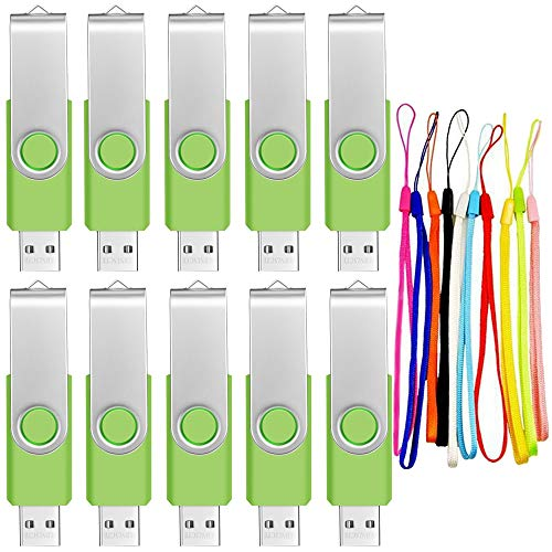 (4GB Memory Stick USB 2.0 Flash Drive 10 Pack Bulk Thumb Drives Portable Swivel Data Sticks Zip Drive Green PenDrive Jump Drive for Data Storage by FEBNISCTE )