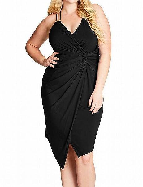 e109e53be3222 So Seductive Faux Wrap Dress in Black - Size 22 / XL at Amazon Women's  Clothing store: