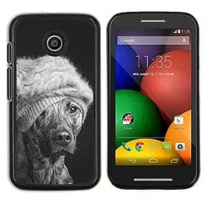 Invierno Moda Perro australiano del ganado Mutt- Metal de aluminio y de plástico duro Caja del teléfono - Negro - Motorola Moto E / XT1021 / XT1022