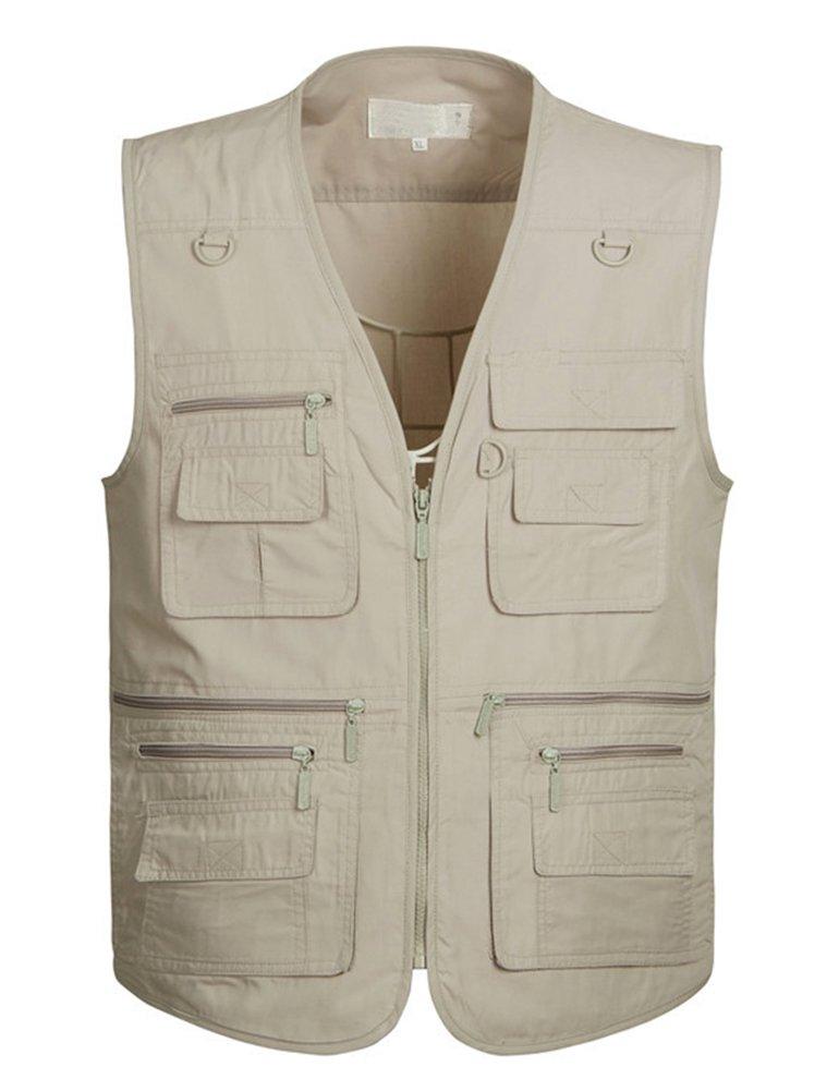 IDEALSANXUN Men's Causal Solid Pockets Vest V Neck Loose Sleeveless Jacket (Khaki, US L)