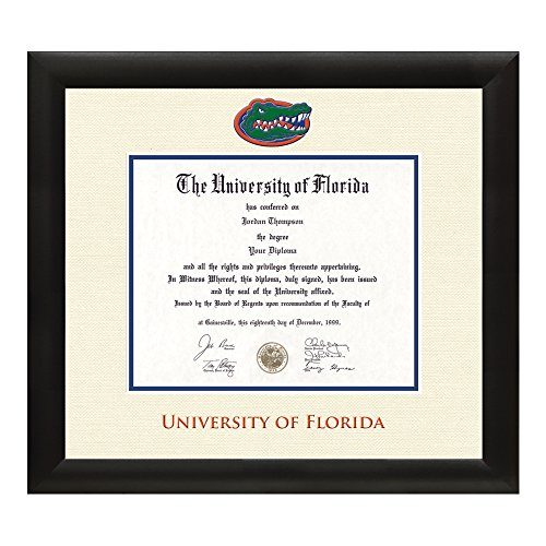 University of Florida Diploma Frame – Textured Ivory & Blue Matting with Official UF Logo – 11.5 x 16 Diploma Size – By Church Hill Classics by Church Hill Classics