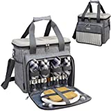 Insulated Cooler Tote Bag for Picnic Lunch with 4 Tableware Set Outfit - Hard EVA Formed Lid as Picnic Table