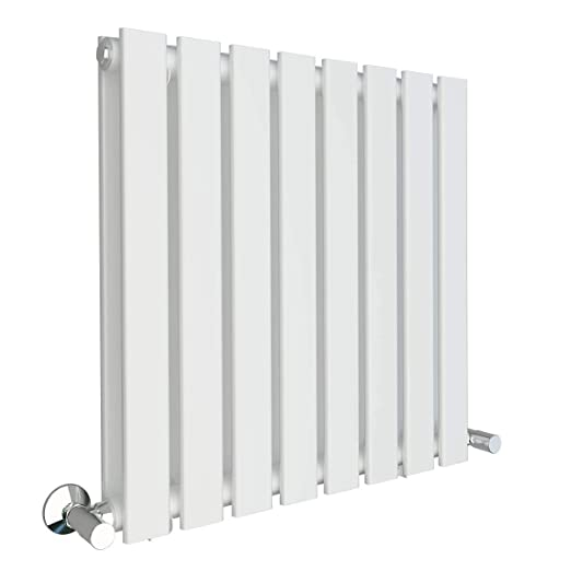 Horizontal Column Designer Radiator Sand Grey Single Oval Flat Panel 600 x 700 m