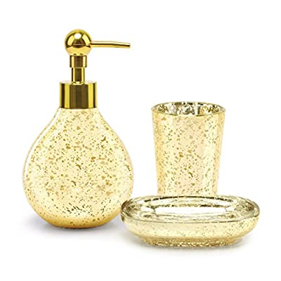 Bathroom Accessory Set Bathroom Soap Dispenser Set Bathroom Tumbler Bathroom Soap Dish Golden Luxury for Decor and Housewarming Gift - 3 Pieces Bathroom Accessories Sets - This luxury gold bathroom essentials accessory set includes: 1 x bathroom soap dispense with brushed stainless steel pump, 1 x bathroom soap dish, 1 x bathroom tumbler cup. Have easy access to your toiletries with just a simple grab with everything organized. Add a classic and decorative touch to your bathroom with our gorgeous 3-piece bathroom set. Timeless Elegance and Luxury Design - Our bathroom soap dispenser set made of crackle glass with an antique amber finish and black detailing. Its simple design adds a timeless look to any washroom, giving it just the right amount of luxury. Whatever your bathroom color scheme, this golden bathroom set will blend in perfectly and definitely impress your guests. Quality and Craftsmanship You Can Trust - Made of quality acrylic, no need to worry about any of the products chipping, breaking or fading. Whether you are attending a housewarming or Christmas party, this luxury bathroom accessory set makes a great gift for family, friends, and coworkers; it's perfect for remodelers looking to upgrade the bathroom in their home or apartment. - bathroom-accessory-sets, bathroom-accessories, bathroom - 51qqEa2ZcmL. SS400  -