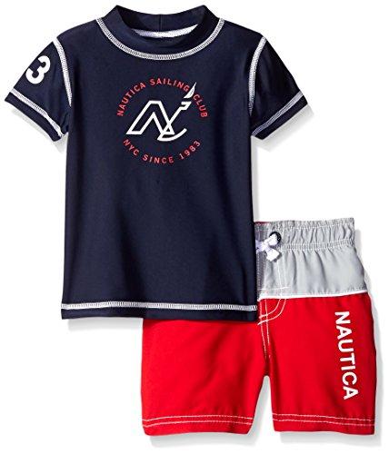 Nautica Baby Boys' Short Sleeve Rashguard New Logo Set, Sport Navy, 24 Months