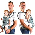 Baby Carrier | 6 in 1 Ergonomic Baby Sling with Pockets | Organic Cotton Fabric| Breathable 3D Mesh Material | Front, Back, Hip Seat Position | Newborn 44 Lb