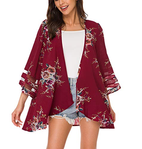 Womens Floral Print Kimono Cardigan Loose Puff Sleeve Cardigans Patchwork Cover Up Blouse Top(S, Wine Red)