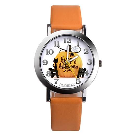 Rosepoem reloj de manera única Reloj de cuarzo de las mujeres Casual simple reloj de pulsera Modelo de la calabaza linda para señoras de las mujeres cuero ...