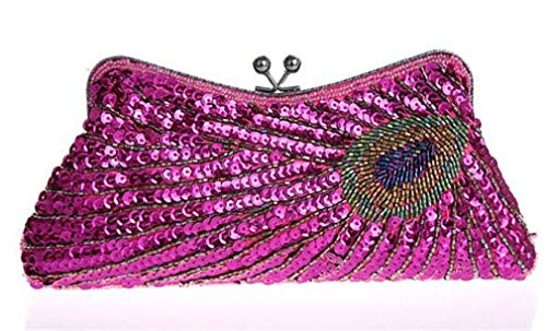 Purse ULKpiaoliang Clutch pink Handbag Party Peacock Pattern Sequins Women Evening Bridal Chain hot Mini Bags Gifts Beaded Wedding ZZAr1qP