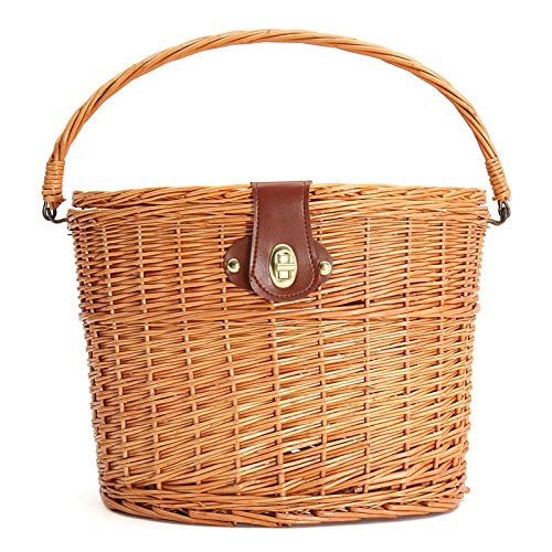 (HWTP Bike Handlebar Hanging Willow-Baskets Wicker Bicycle Front Basket with Lid Shopping Stuff Box Pets Fruits Picnic Panier)