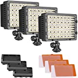 NEEWER 3-Pack 160 LED CN-160 Dimmable Ultra High Power Panel Digital Camera / Camcorder Video Light, LED Light for Canon, Nikon, Pentax, Panasonic,SONY, Samsung and Olympus Digital SLR Cameras