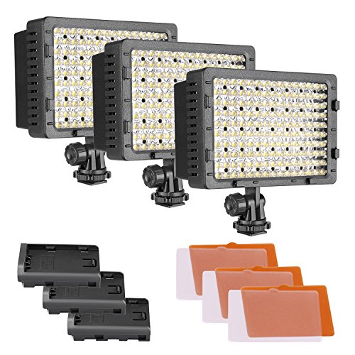 NEEWER 3-Pack 160 LED CN-160 Dimmable Ultra High Power Panel Digital Camera/Camcorder Video Light, LED Light for Canon, Nikon, Pentax, Panasonic,SONY, Samsung and Olympus Digital SLR Cameras by Neewer