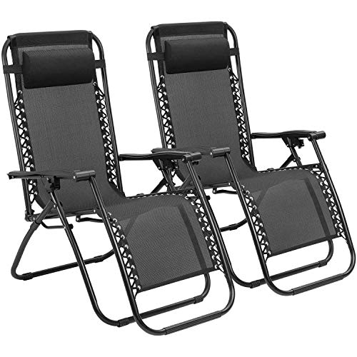 Zero Gravity Chairs Adjustable Outdoor Folding Lounge Patio Chairs with Pillow Recliners for Poolside, Beach, Yard Set of 2 (Black) ()