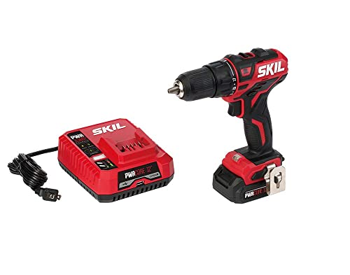 SKIL PWRCore 12 Brushless 12V 1 2 Inch Cordless Drill Driver, Includes 2.0Ah Lithium Battery and PWRJump Charger – DL529002