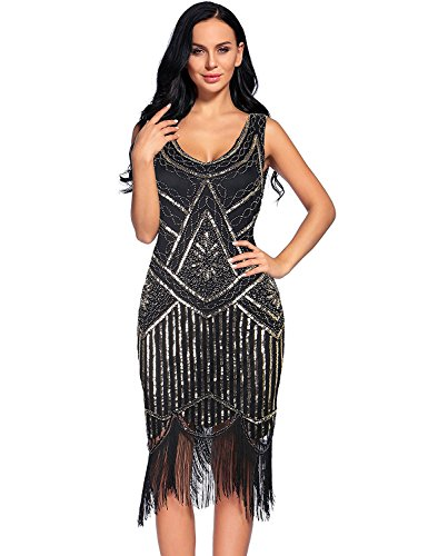 Women's Vintage 1922s Fringed Gatsby Sequin Beaded Tassels Hem Flapper Dress (XXL, Gold)