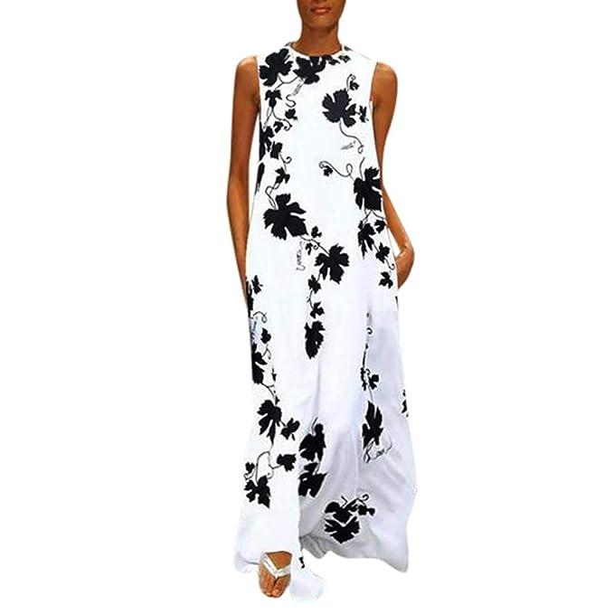 Womens Bohemian Floral Boho Long Maxi Dress Summer Cocktail Swing Skirt Sundress