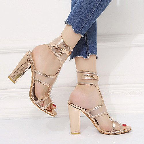 VEMOW High Heels for Women, for Work Utility Footwear Gladiator Closed Toe Platform Sparkly Roman Sandals Party Club Office Court Shoes, Buckle Strap Tassel Ladies Ankle Party Singel Gold
