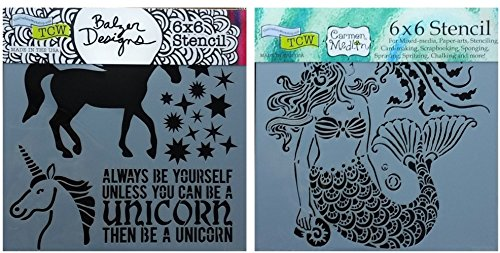 2 Mixed Media Stencils Set | Unicorn, Mermaid Theme | For Card Making, Journaling, Scrapbooking, Arts | 6 Inch x 6 Inch Templates by CRAFTERS WORKSHOP