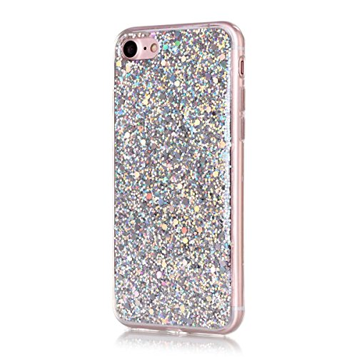 For iPhone 7 / iPhone 8 Case, Moonmini Hybrid Bling Glitter Soft TPU Silicone Inner Bumper Sparkle Shiny Protective Back Cover for iPhone 7 / iPhone 8 4.7 inch (Silver)