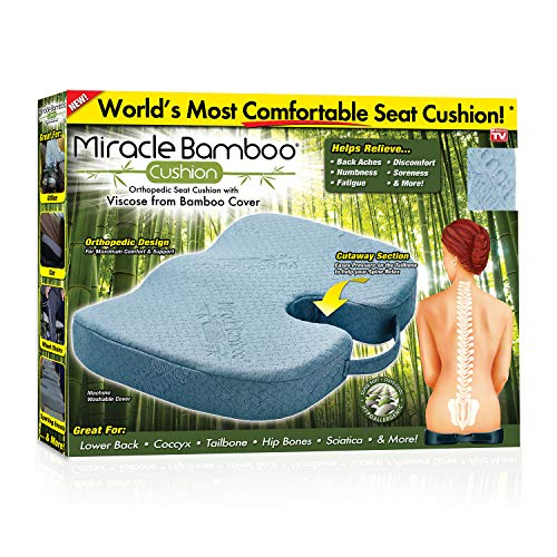 Miracle Bamboo Cushion Ontel Miracle Orthopedic Seat Cushion with Viscose from Bamboo Cover, Gray ()