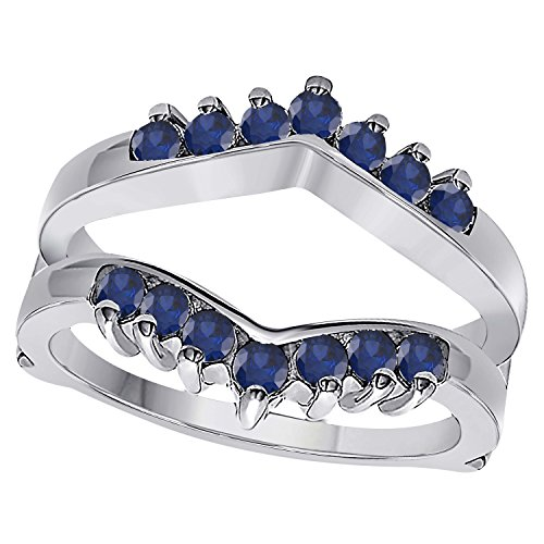 (1/2ct Prong Set Solitaire Enhancer Lab Created Blue Sapphire Ring Guard Wrap 14k White Gold Plated Available Sizes 4-12)