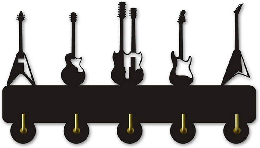 Negro ANEEY Toalla Madera Ganchos Guitarra Instrumento Forma Silueta Montado en la Pared Ganchos Decorativos Percha para Sala de Estar Ba/ño Cocina Etiqueta de la Pared
