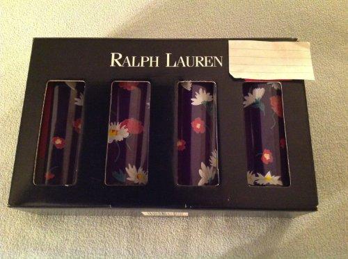 Ralph Lauren Vintage Glass Tumblers, Navy Floral (Lauren Tumbler Ralph)