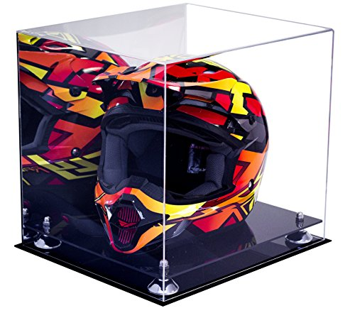 """Versatile Deluxe Acrylic Display Case - Large Rectangle Box with Silver Risers and Mirror 16"""" x 13"""" x 14"""" (A024-SR)"""