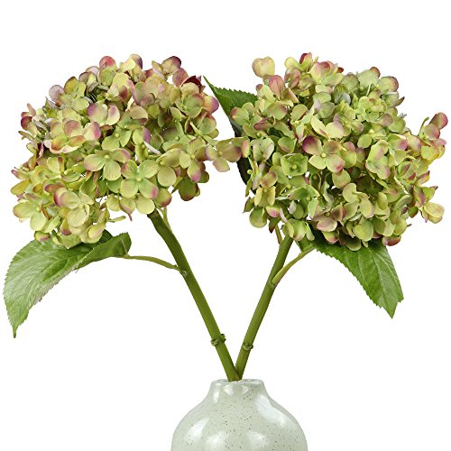 Rinlong Artificial Hydrangea Silk Flowers Stem Green for Flowers Arrangement Home Party Wedding  ...