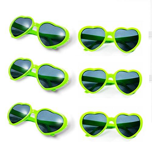 Gyaya Neon Colors Party Favor Heart Shape Sunglasses (6 Pack Rainbow Set) (Green)