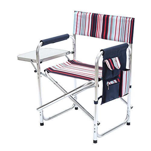 CampLand Director Chair Outdoor Folding Chair Collapsible with Side Table Supports 300 lbs (Folding High Directors Chair)