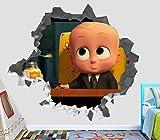 The Boss Baby Movie Tim Templeton Suit-Wearing Baby Wall Decal Sticker Vinyl Decor Door Window Mural - Broken Wall - 3D Designs - OP52 (Small (Wide 22'' x 16'' Height))