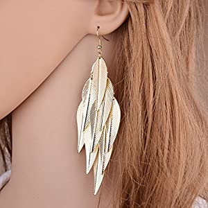 "Gespout 1 Pair of Tassel Leaf Pendant Earrings for Jewellery Accessories and Party Prom Gift, D""or, 12cm*2cm"