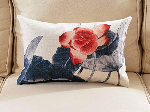 Lotus Cushion Cover - OSVINO Chinese Ink Wash Painting Style Lotus Series Throw Pillow Case Sham Cushion Cover for Home Sofa Bed Office Décor, Lotus2, 12