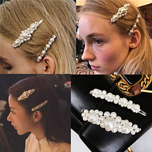 Pearls Hair Clips for Women Girls - 4pcs Large Bows/Clips/Ties for Birthday Valentines Day Gifts Bling Hairpins Headwear Barrette Styling Tools Accessories by MXXGMYJ (Image #3)