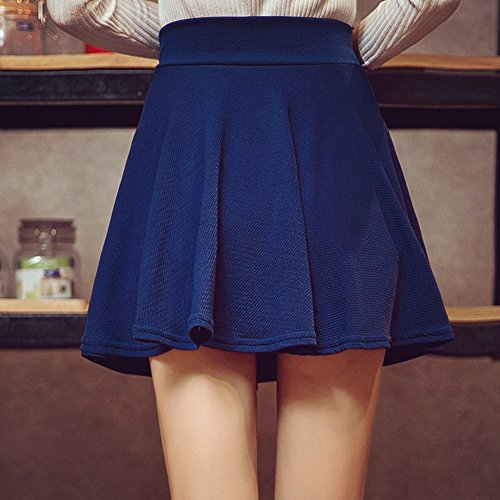 KINDOYO Nueva moda falda plisada de cintura elástica color sólido más el  tamaño falda corta para 997bdb64d610