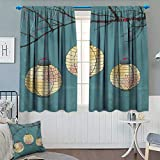 Chaneyhouse Lantern Thermal Insulating Blackout Curtain Three Paper Lanterns Hanging on Branches Lighting Fixture Source Lamp Boho Patterned Drape for Glass Door 63'' W x 45'' L Teal Pale Yellow