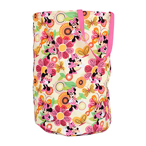 Minnie Mouse Collapsible Kids Laundry Hamper by Disney Pop Up Portable Children's Clothes Basket for Closet, Bedroom, Boys & Girls Clothes - Foldable Laundry Bin with Strong Handles & Design