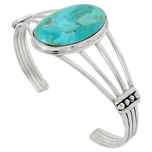 Turquoise Bracelet Sterling Silver 925 with Genuine Turquoise (Turquoise) by Turquoise Network