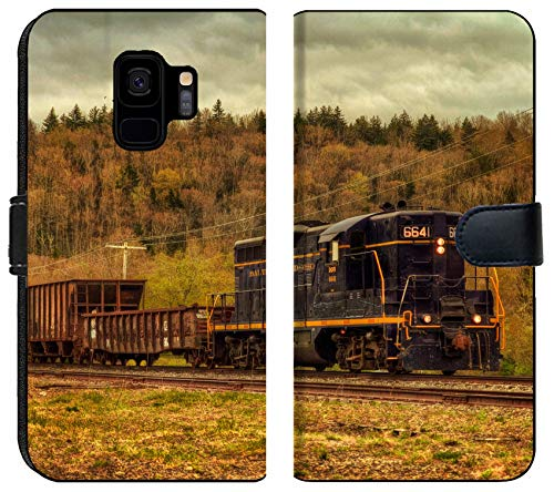 Samsung Galaxy S9 Flip Fabric Wallet Case Image of Train Transport Locomotive Engine Railroad Old Travel Smoke Transportation Railway Track steam Metal rai