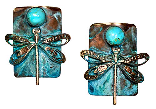Elaine Coyne Verdigris Patina Dragonfly Earrings - ()