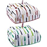 2-Pack Food Cover - Portable Thermal Pop-Up Food Cover, Collapsible Food Tent, Red, Green, 15.5 x 7 x 15.5 Inches