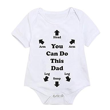 2532faacdfc NUWFOR Toddler Kids Baby Girl Boy Letter Print Tops Bodysuit Romper Sunsuit  Clothes(White