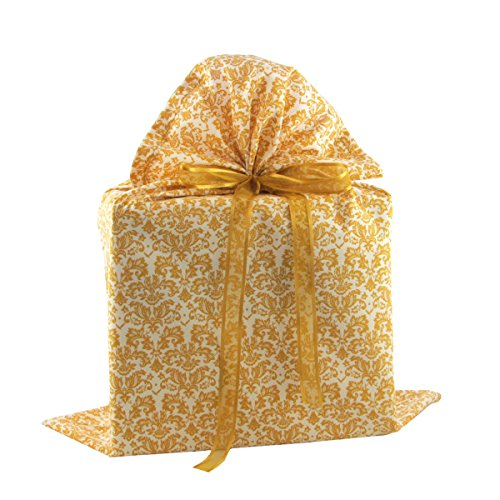Gold Damask Reusable Fabric Gift Bag for Christmas, Wedding, Bridal Shower, Birthday or Any Occasion (Large 20 Inches Wide by 27 Inches (Large Wedding Gift Bags)
