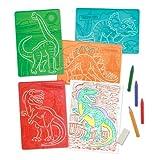 Melissa & Doug Textured Stencils - Dinosaurs (Assorted ColoursLime green)