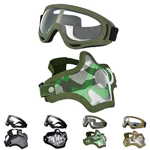 OUTGEEK Airsoft Half Face Mask Steel Mesh and Goggles Set For Halloween and Xmas(army green set)