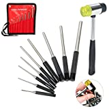 YaeTek 9-piece Roll Pin Punch Set and 1 Double faced mallet, Hand Pin Remover Tool for Jewelers, Gunsmith, Watch Makers, Repairs and Crafts